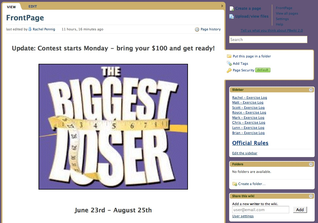 PBwiki Biggest Loser Challenge | PBworks Official Blog